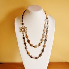 Natural Mexican Agate gemstone necklace by jarka on Etsy, $69.00