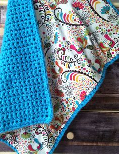 crocheted blanket backed with fabric