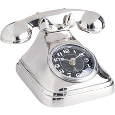 Pier 1 Imports Silver Telephone Clock (285 NOK) ❤ liked on Polyvore featuring home, home decor, clocks, filler, silver, silver home accessories, pier 1 imports, silver clock, battery clock and battery operated clock