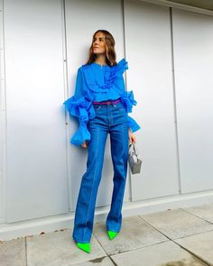 Quirky Fashion, Colorful Fashion, Denim Fashion, Fashion Outfits, Womens Fashion, Blue Jean Outfits, Elegant Outfit, Jumpsuits For Women, Spring Outfits