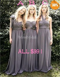 Grey Purple Bridesmaid Dresses