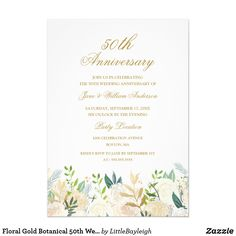 Floral Gold Botanical 50th Wedding Anniversary Card
