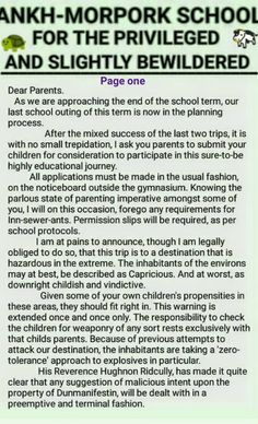 Ankh-Morpork School For The Privileged And Slightly Bewildered. Letter to parents. page one. by David Green.