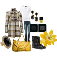 YELLOW/GREY/BLACK, created by browneyedgurl111580 on Polyvore