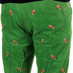 Wide Wale Corduroy Pants in Evergreen with Embroidered Candy Canes by Castaway Clothing. Sweaters are great, but take your holiday spirit to the next level with these finely-crafted pants!