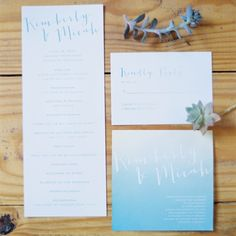 Blue Watercolor Ombre Invitations