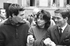 Franco Citti, Anna Magnani and Pier Paolo Pasolini on the set of the movie 'Mamma Roma'  (1962)