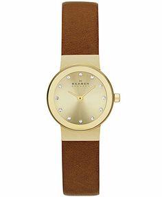 Skagen Denmark Women's Saddle Leather Strap Watch 22mm SKW2175 - Skagen Denmark - Jewelry & Watches - Macy's
