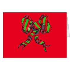 Christmas Red and Green Bow Greeting Card