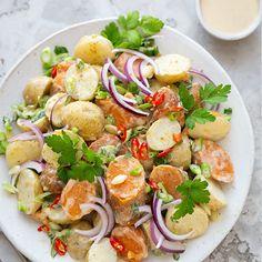 Ina Paarman | Mixed Potato Salad Honey Mustard Dressing, Food Festival, Allrecipes, Cobb Salad, Sweet Potato, Potato Salad, Salads, Good Food, Spices