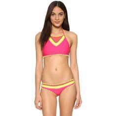 SAME SWIM The It Girl Bikini Top (9,040 DOP) ❤ liked on Polyvore featuring swimwear, bikinis, bikini tops, orange papillon, tankini swim tops, macrame bikini, swim suit tops, swim swimwear and tie bikini
