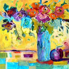 Nancy Standlee Fine Art: Blue Rose ~ Blue Vase ~ Floral Painting ~ Oskee-Wow-Wow ~ P and M Festival