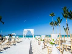 These simple but elegant wedding decor touches are perfect for a beach wedding. Draping adds that soft romantic feel and chair corsages tie in all the decor. Luxe Wedding, Wedding Goals, Wedding Draping, Wedding Beach, Elegant Wedding, Bavaro Beach, Wedding Styles, Wedding Photos, Dominican Republic Wedding