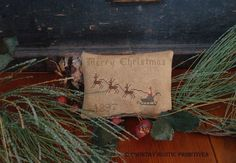Primitive Merry Christmas 1897 Sleigh Pinkeep by countryrustic, $7.00