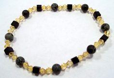Black and Green Cameo Stone with Gold Bicones Stretch Bracelet Gemstone Bracelet Gemstone Jewelry Cameo Jewelry Cameo Bracelet BE1536 - pinned by pin4etsy.com