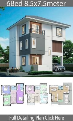 House design plan with 6 bedrooms - Home Design with Plansearch Duplex House Design, House Front Design, Modern House Design, Contemporary House Plans, Modern House Plans, Small House Plans, House Ideas, Dream House Exterior, Facade House