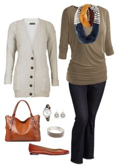 """Fall Plus Size Outfit"" by jmc6115 on Polyvore featuring Old Navy, FOSSIL, Kim Rogers, Fall, casual, plussize and fallfashion"