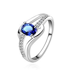 * Penny Deals * - BALANSOHO Fashion Sterling Silver Plated Elegant Design Blue Crystal Classic Ring 925 ** Want to know more, click on the image.