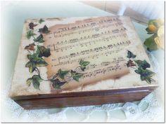 Vintage style wooden jewellery box ,  tea box , decoupage box , ivy , music notes on Etsy, £18.78