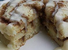 Did you say Cinnamon Roll Pancakes?? One bite of these delicious pancakes and you will be hooked! They are wonderful. Enjoy!