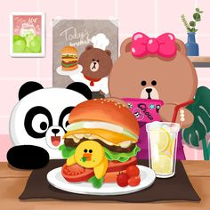 LINE FRIENDS illustration.choco, pangyom selly and hamberger. Friends Illustration, Fruit Illustration, Line Brown Bear, Cony Brown, Wallpaper Stores, Friends Wallpaper, Fanarts Anime, Line Friends, Cartoon Design