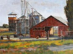 """Daily Paintworks - """"Red Barn With Silos"""" - Original Fine Art for Sale - © Barbie Smith"""