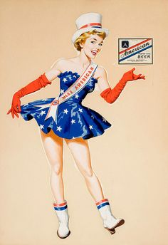 WWII Miss American Beer ad pin-up, ca. 1940s.