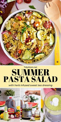 This SUMMER PASTA SALAD is loaded with fresh garden vegetables of the season and tossed in a flavorful herb infused sweet tea vinaigrette dressing. Great for potlucks, BBQs, or summer gatherings. Serve it as a side dish, or add protein for a main dish. Tostada Recipes, Easy Salad Recipes, Easy Salads, Beef Recipes, Dinner Recipes, Cooking Recipes, Healthy Recipes, Potluck Recipes, Rice Recipes