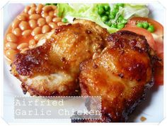 Airfried Garlic Chicken - To make low carb use your favorite Sugar Free Sweetener instead of sugar. Healthy Cooking, Cooking Recipes, Healthy Recipes, Healthy Meals, Oven Recipes, Cooking Videos, What's Cooking, Fall Recipes, Keto Recipes