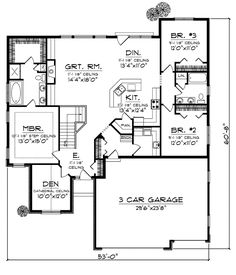 3 bedroom house plans one story no garage houses for House plans with no garage