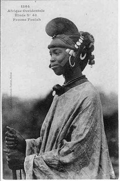 Africa   Fulani Woman with traditional headgear. Senegal   Vintage Postcard; ca. 1900, photographer unknown.