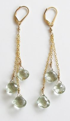 Edisto Earrings with Pale Green Ameythst on Gold