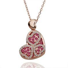 Rose Gold Plated Dark Pink Swarovski Elements Heart Necklace