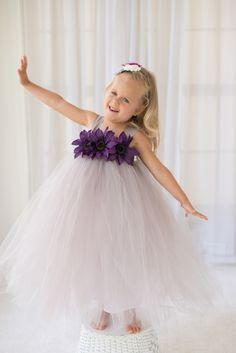Gray Wedding - Flower Girl Tutu Dress with Flower Trim Flower Girl Tutu, Wedding Flower Girl Dresses, Flower Girls, Dama Dresses, Girls Dresses, Tutu Dresses, Toddler Tutu, Tutu Tutorial, Gray Weddings
