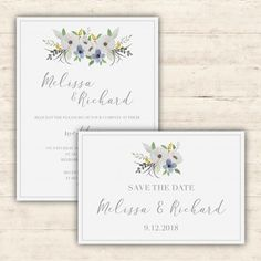 Elegant wedding invitations set Free Vector