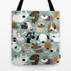 Dog pattern Tote Bag by Maria Jose Da Luz - $22.00