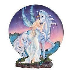 "10.75"" Blue Winged Fairy with Mystical Unicorn Decor Display Dish Fantasy Statue"