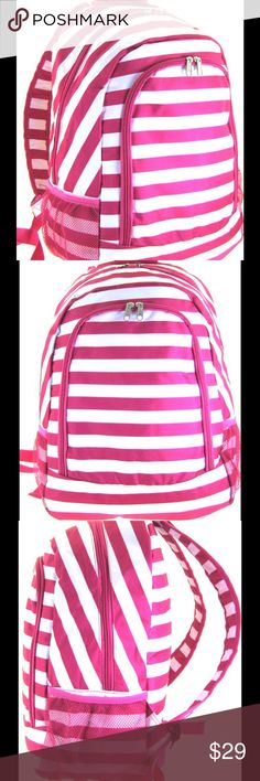 🆕 Pink 16 inch Striped Canvas Book Bag Backpack This bag is brand NEW and not used.  Check out the matching lunch bag and all of the other beautiful bags in our closet. Size : 12w x 16h x 6d in.   Material : Canvas   * Zipper Closure  * Plenty of Various Sized Pockets Inside  * Two Compartments w/ Front Pocket  * Two Mesh Pockets on Each Side  * Adjustable Shoulder Straps  * Backpack for School Scarlettsbags Bags Backpacks