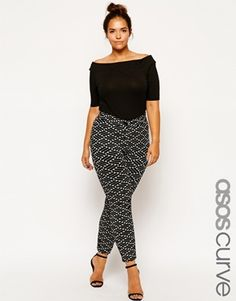 Image 1 of ASOS CURVE Exclusive Tube Trouser In Geo Texture