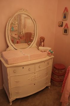 Shabby Chic Dresser + Mirror turned changing table. LOVE! #shabbychic #nursery