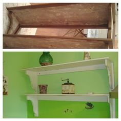 Old shelf - now part of the kitchen, made in shabby chic technique