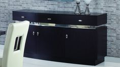 "Global DG072 BUFFET - Wenge 3 doors buffet. Buffet with 3-drawers. Dimensions: L63"" x D24"" xH34""."