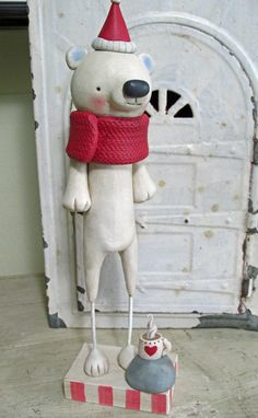 Christmas FOLK ART Polar Bear with cup of hot chocolate by Janell Berryman Pumpkinseeds folk art Paper Clay, Clay Art, Christmas Decorations, Christmas Ornaments, Holiday Decor, Handmade Art, Handmade Gifts, Clay Figurine, All Holidays