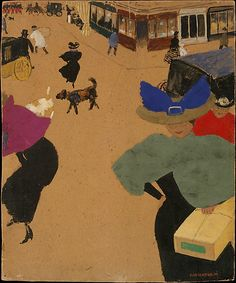 "Félix Vallotton (Swiss, 1865–1925). Street Scene in Paris (Coin de rue à Paris), 1895. The Metropolitan Museum of Art, New York. Robert Lehman Collection, 1975 (1975.1.736) | Félix Vallotton made a significant contribution to the graphic arts in Paris in the last half of the 1890s, where he painted this charming gouache of pedestrian traffic on a bustling boulevard. His ""snapshots"" of fin-de-siècle Paris laid out a sharp visual critique of modern bourgeois society. #dogs"
