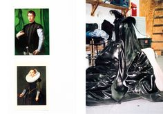 MYTHS CREMASTER 5 - Postcards collected by Matthew Barney: Agnolo Bronzino, LUDOVICO CAPPONI, ca. 1550-55 - attributed to Nicholas Eliaz, PORTRAIT OF A LADY, 1632 - Prosthetic plastic gown in seated position in Barney studio (from THE CREMASTER CYCLE by Nancy Spector, 2003)
