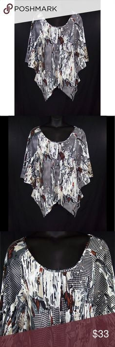 YUMMY PLUS 4X 5X 6X Abstract Print Shark Bite Top White, black, brown, gray, & rust in color, scoop neck, shirring in front for fullness, elbow length wide angel sleeves, pretty abstract print, shark bite hem, soft silky fabric is 95% polyester, 5% spandex and hand washable. Comes from a smoke free home. NWOT Measurements: 4X bust-49 to 56 (stretched), sleeves-17, length-28 1/2 to 34. 5X bust-52 to 60 (stretched), sleeves-17, length-29 to 35. 6X bust-55 to 63, sleeves-18, length-29 to 36…