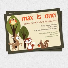431 best tanners birthday images on pinterest forest party printable woodland birthday invitation animals creatures friends forest deer owl squirrel stopboris Gallery