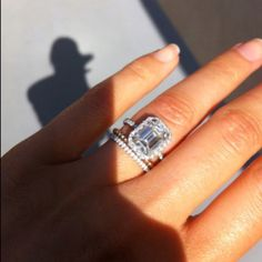 Stunning! Emerald cut diamond with a halo. Breathtaking