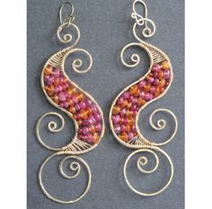 Luxe Bijoux 128 Hammered swirl shapes wrapped by CalicoJunoJewelry