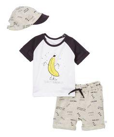 Look what I found on #zulily! Black & White Banana Raglan Tee Set - Infant by Rosie Pope Baby #zulilyfinds